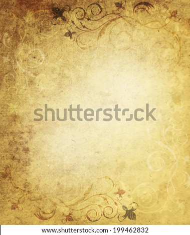 Grunge Background With Floral Ornate