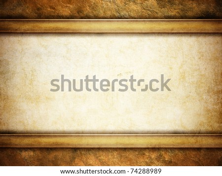grunge background with golden frame - stock photo