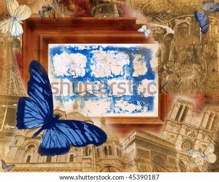 Grunge background with motives of Paris - stock photo