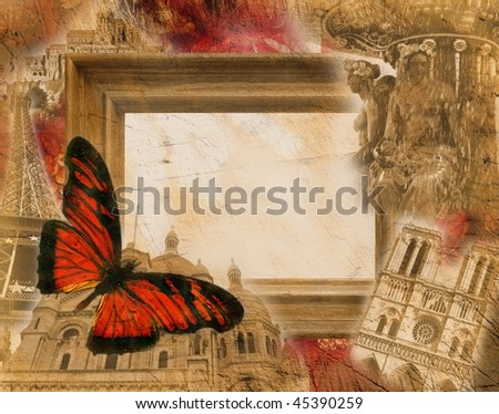 Grunge background with motives of Paris and France - stock photo
