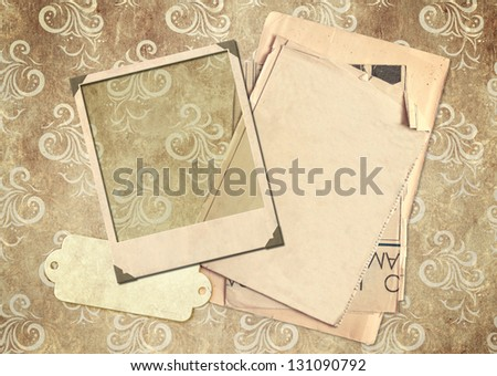 Grunge background with old photo and label - stock photo