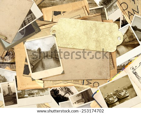 Grunge background with old photos and label - stock photo