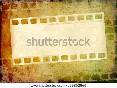 Grunge background with paper texture and filmstrips - stock photo
