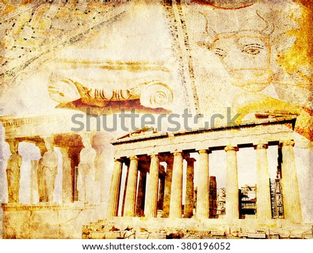 Grunge background with paper texture and landmarks of Greece - Parthenon, Dion mosaic with bull - stock photo