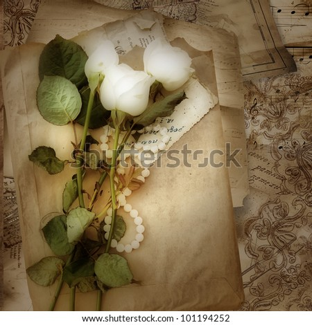 Grunge background with roses and lace - stock photo