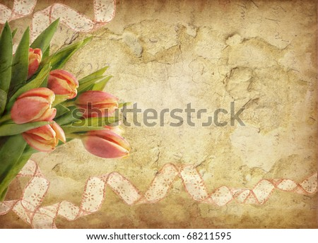 Grunge background with tulips - stock photo