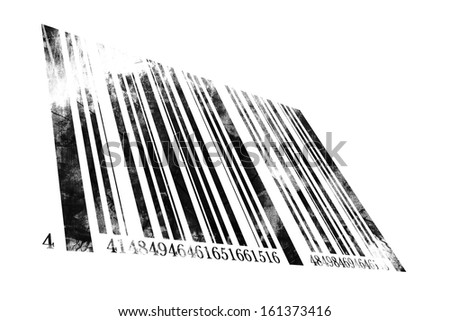 grunge bar code on a solid white background - stock photo