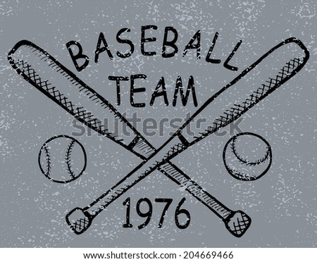 Grunge baseball design T-shirt Printing. Raster version - stock photo