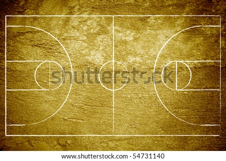 Grunge basketball court with chalk drawn lines. - stock photo