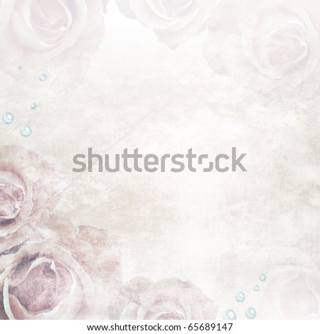 Grunge Beautiful Roses Background ( 1 of set) - stock photo