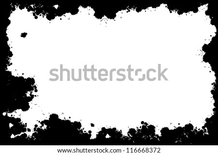 Grunge black abstract spots frame - stock photo