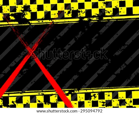 Grunge black and yellow industrial background - stock photo