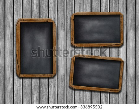 Grunge  blackboard  on wooden wall as a background for your message - stock photo