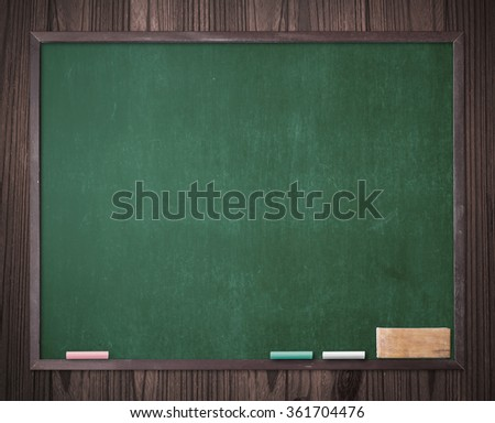 Grunge blank old green wood board or dirty slate board, white blue pink chalk, blackboard eraser on old wood background. Food Menu List Calendar Classroom Training Remind Chalk Notice Mockup concept - stock photo