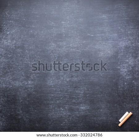 Grunge blank old wood black board or dirty slate board, white chalk. Food Menu List Calendar 2016 Happy New Year Card Classroom Remind Work Teach Class Think Write Lesson Idea Retro Note Empty concept - stock photo