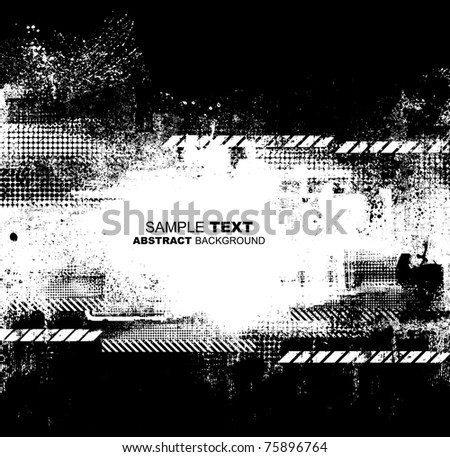Grunge blots warning background - stock photo
