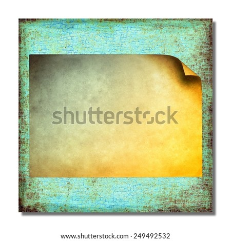 Grunge blue abstract background with sheet of paper - stock photo