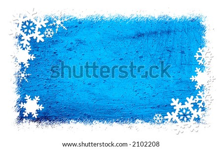 Grunge blue background with snowflakes