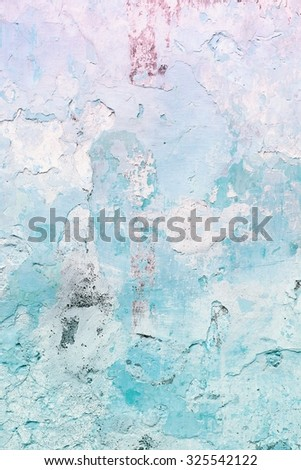 Grunge blue concrete wall background - urban decay texture with peeling paint. - stock photo