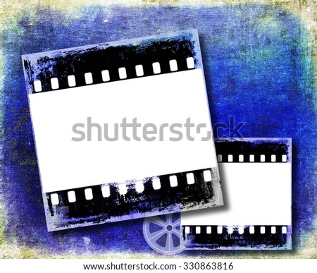 Grunge blue film strip frame - stock photo