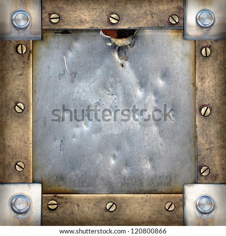 grunge brass and steel frame with screws and rivets, vintage background - stock photo