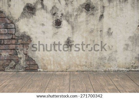 grunge brick covered with cement wall background with floor - stock photo