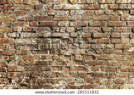 Grunge brick wall background texture - stock photo