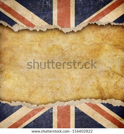 Grunge British flag and old map - stock photo