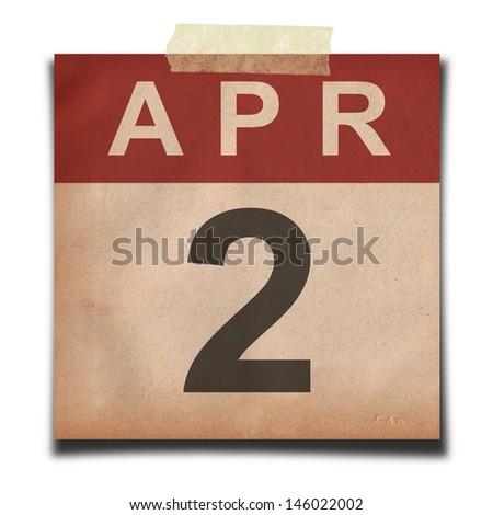 Grunge calendar for April  on white background - stock photo