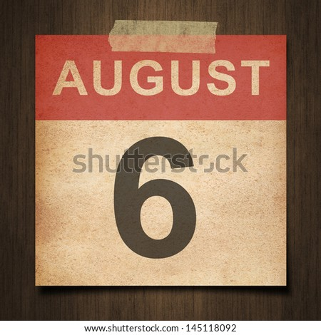 Grunge calendar for August  on wood background - stock photo