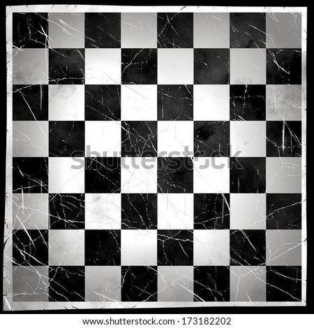 Grunge Chess Board  With Scratch - stock photo