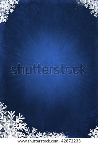grunge christmas background with snow - stock photo