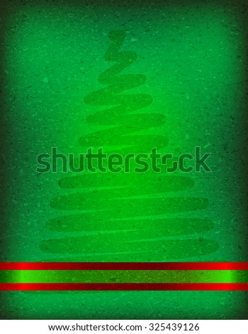 Grunge christmas card background with a christmas tree shadow and red ribbon - stock photo