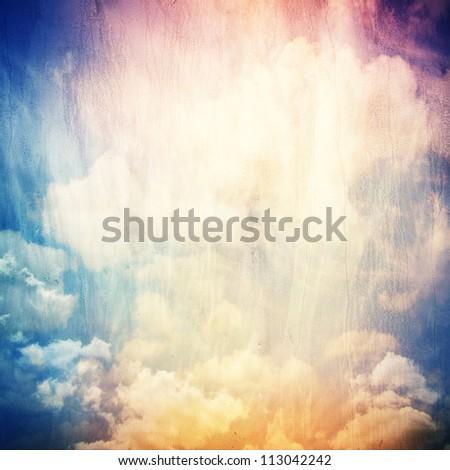 Grunge cloud background, vintage paper texture - stock photo