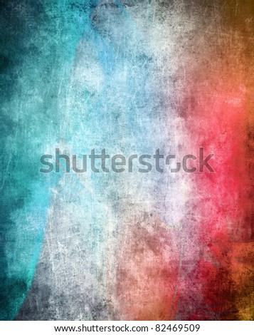 Grunge color texture, blue and red color, old scratched surface - stock photo