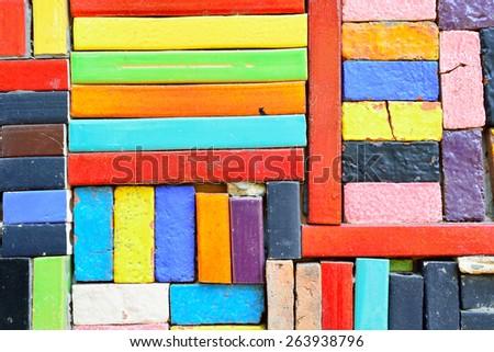 Grunge Colorful Ceramic Tile Patterns Background. - stock photo