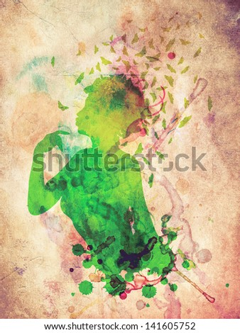 Grunge colorful illustration of a female profile with butterflies. - stock photo