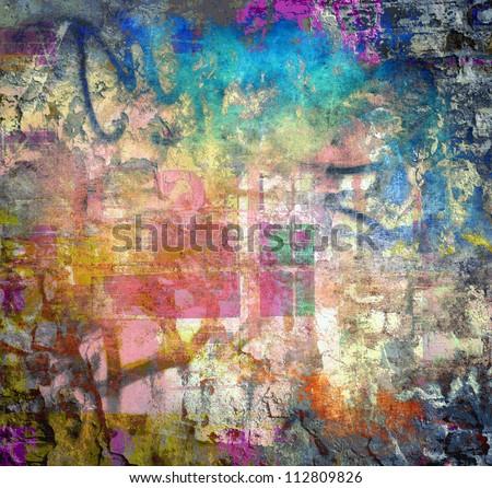 Grunge colorful texture, graffiti background - stock photo