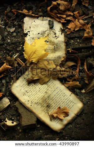 grunge composition with leaves and old book pages