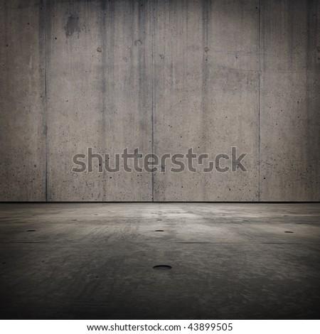 Grunge concrete room texture - stock photo