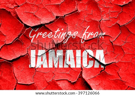 Grunge cracked Greetings from jamaica