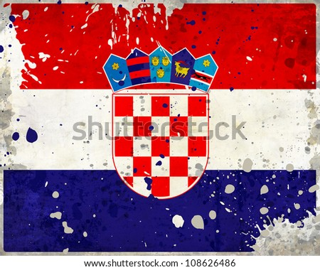 Grunge Croatia flag with stains - flag series - stock photo