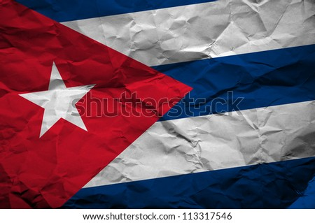 Grunge Cuban flag, image is overlaying a detailed grungy texture - stock photo