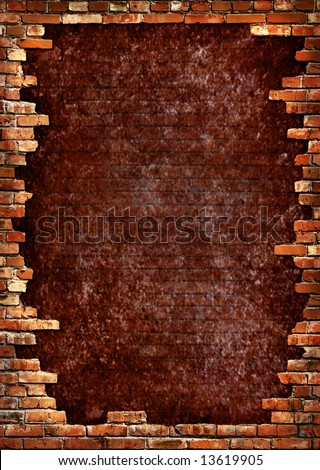 Grunge dark red concrete wall in a brick frame conceptual background texture - stock photo
