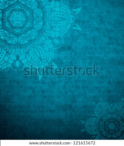 Grunge design template. Blue background. Invitation design. Blue abstract background design layout of elegant old vintage grunge background. Textured wall with ornamental blue lace elements. - stock photo