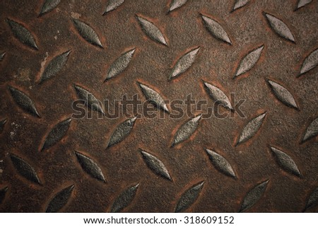 grunge diamond metal plate - stock photo