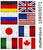 Grunge Dirty and Weathered Great 8 (G8) Countries Flag, Old Metal Textured - stock photo