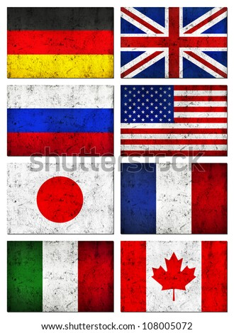 Grunge Dirty and Weathered Great 8 (G8) Countries Flag, Old Metal Textured