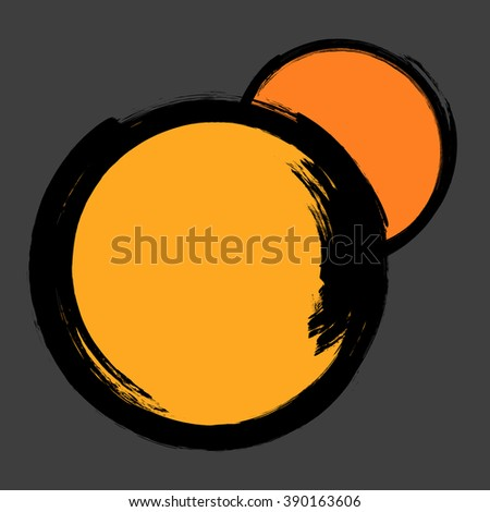 Grunge distressed black paintbrush orange circles on dark background - stock photo