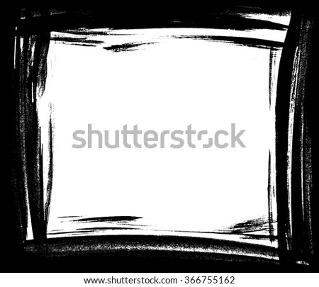 Grunge distressed paintbrush strokes background rectangle frame element illustration - stock photo